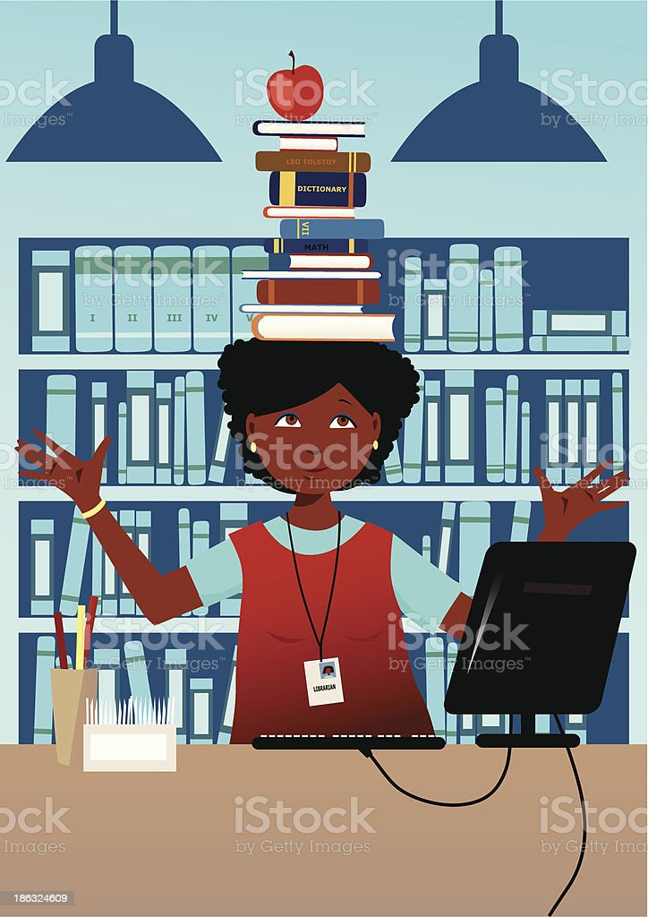 Librarian with books on her head vector art illustration