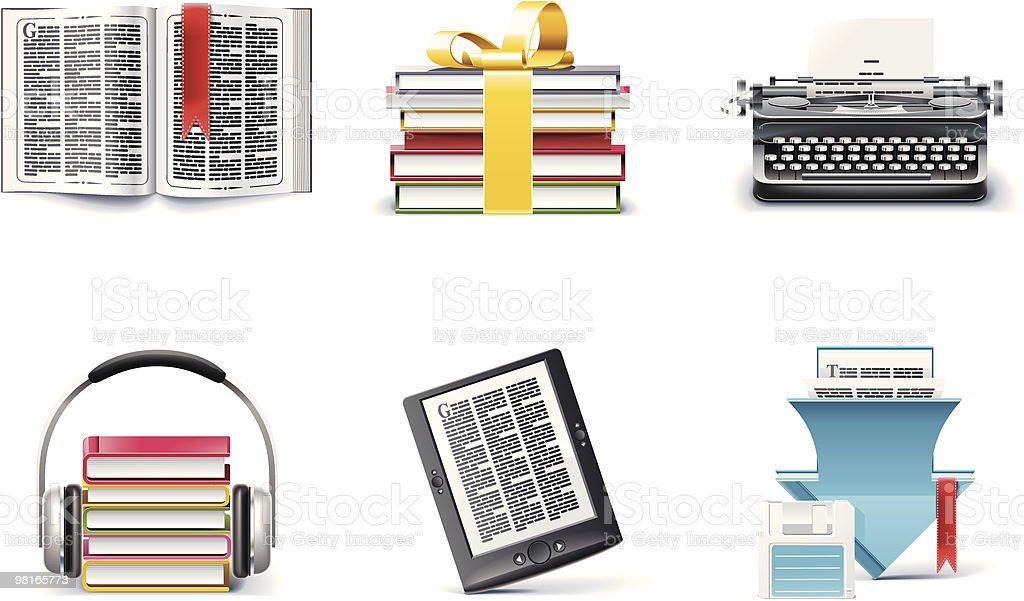 Library and book store icon set royalty-free stock vector art