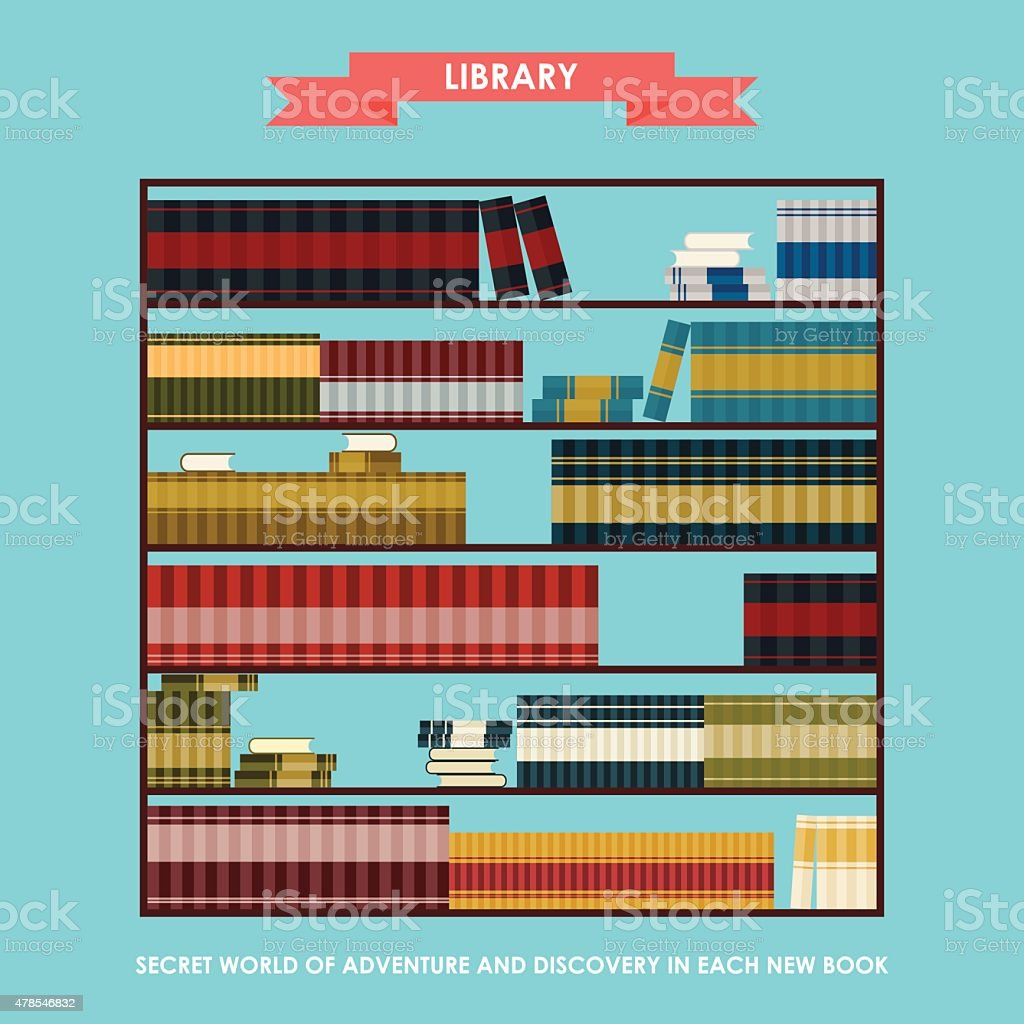 Library bookcase isolated on stylish cover with slogan about reading vector art illustration