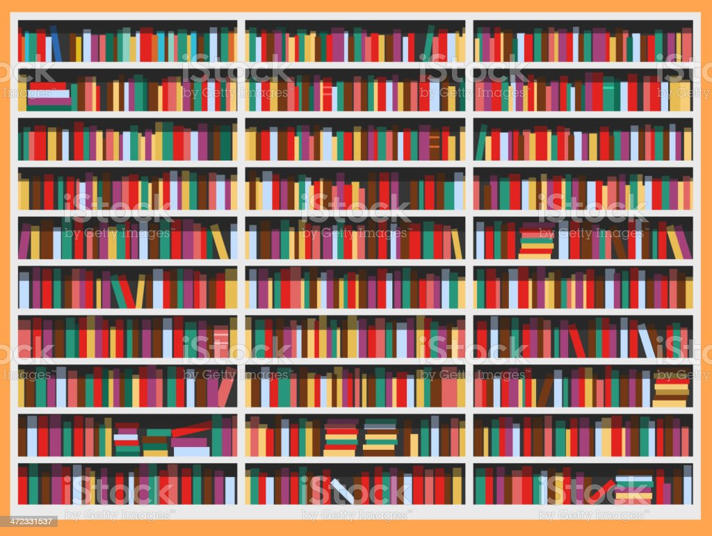 Library full of books vector art illustration