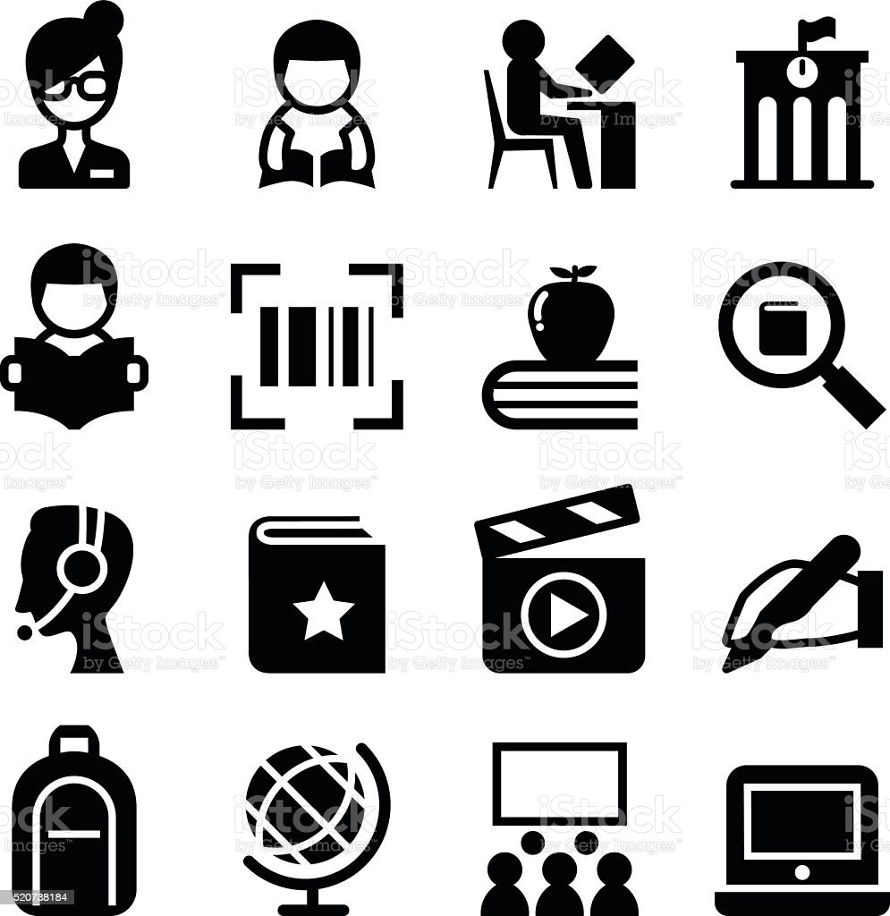 Library icon vector art illustration