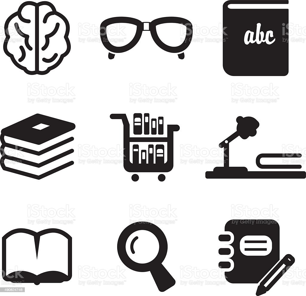Library Icons vector art illustration