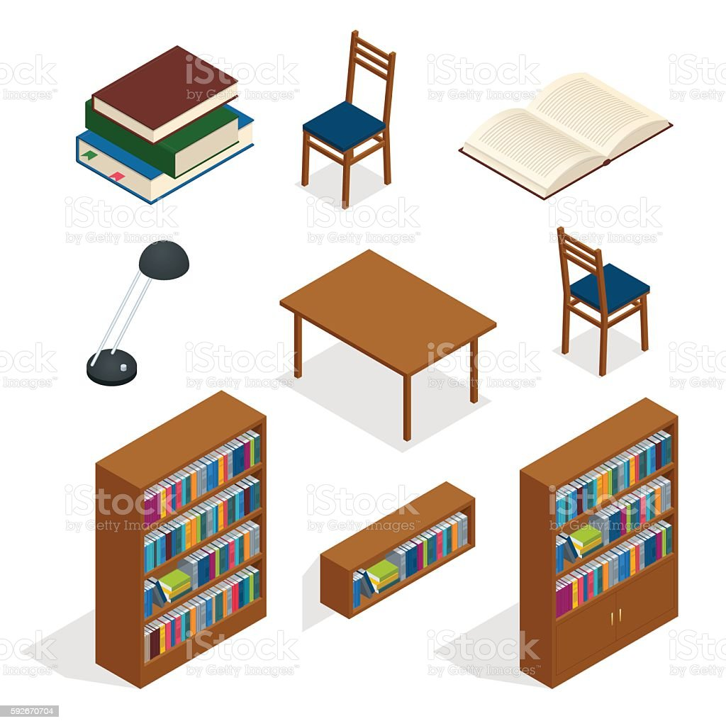 Library isometric icon set. vector art illustration