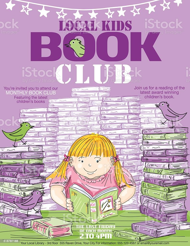 Library Kids Book Club Poster Template vector art illustration