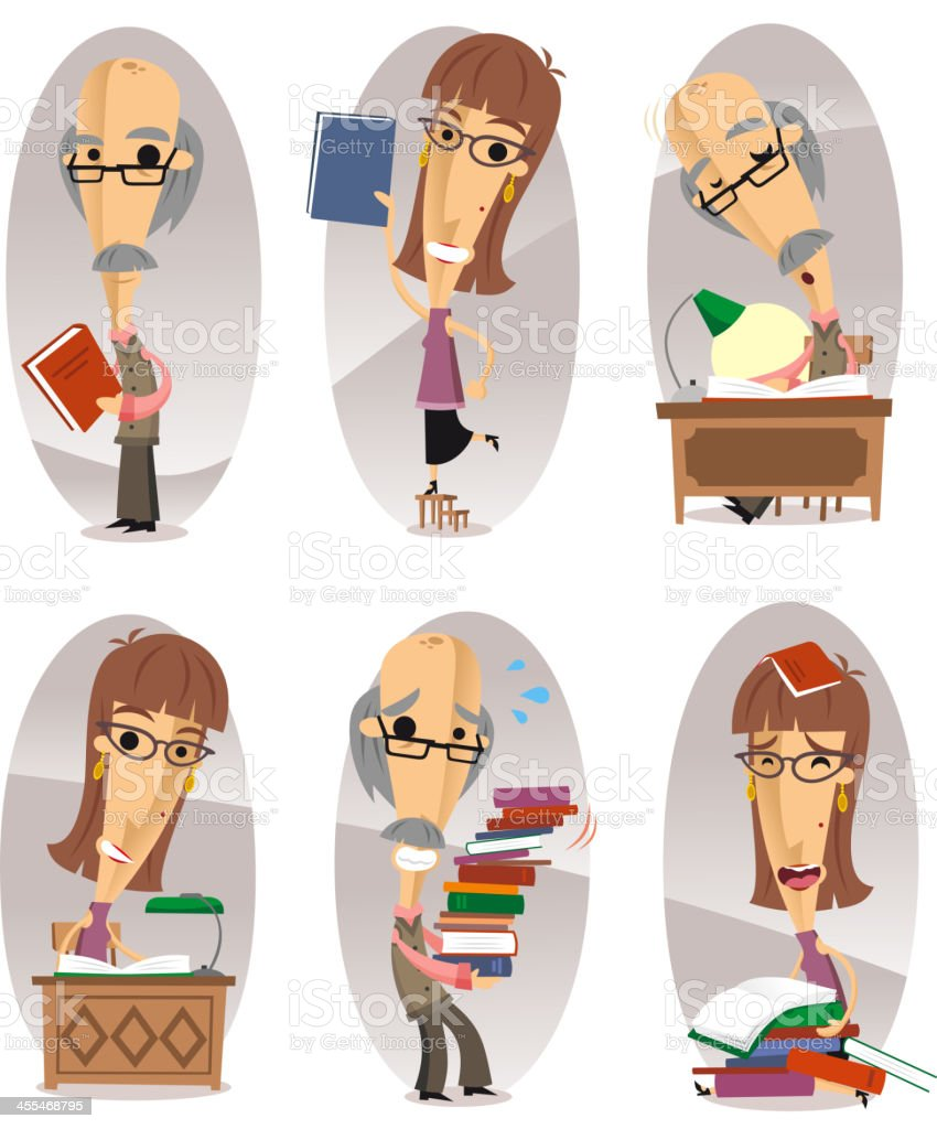 Library man action set royalty-free stock vector art