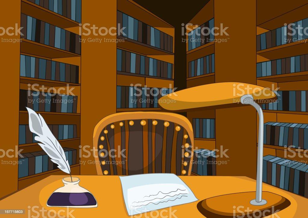 Library Room Cartoon vector art illustration