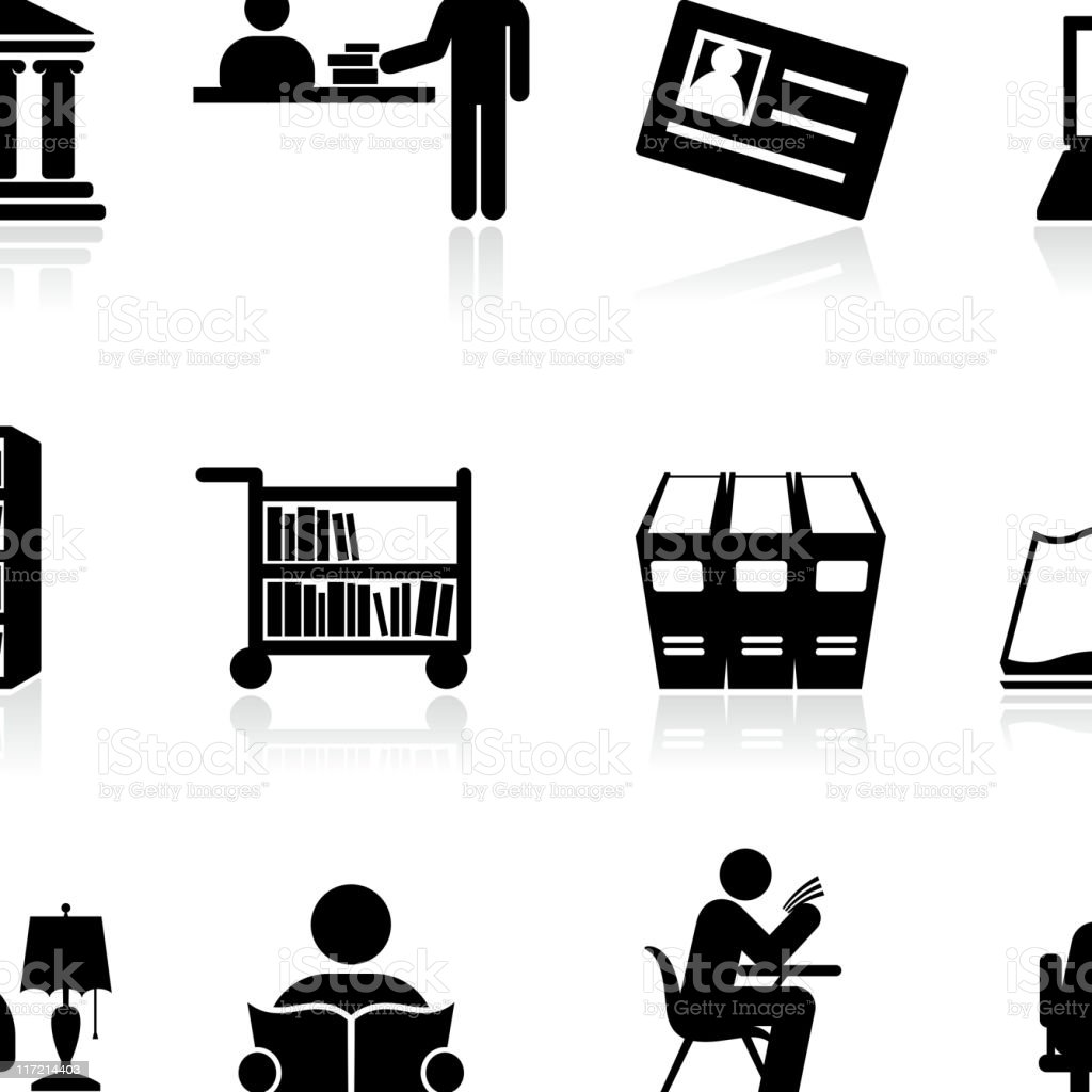 Library school and education black and white vector icon set vector art illustration