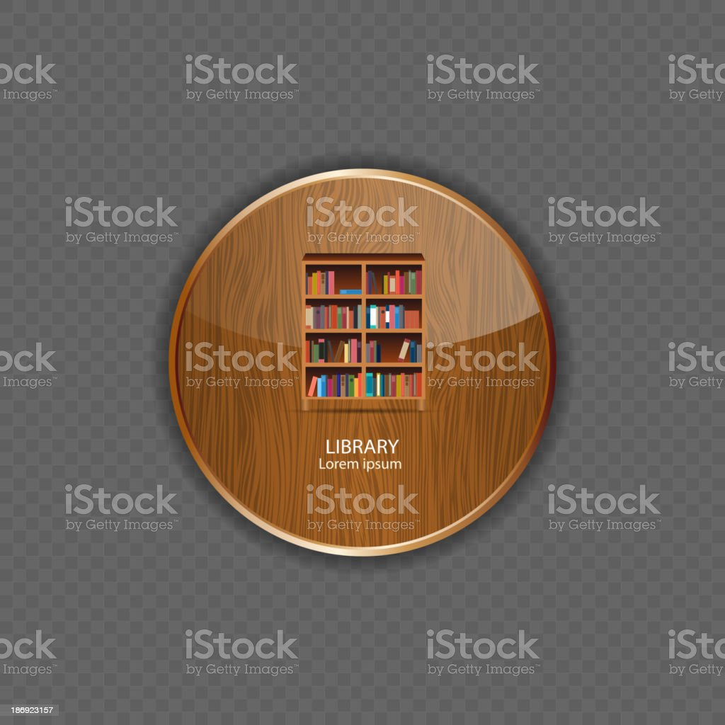 Library wood application icons vector illustration royalty-free stock vector art