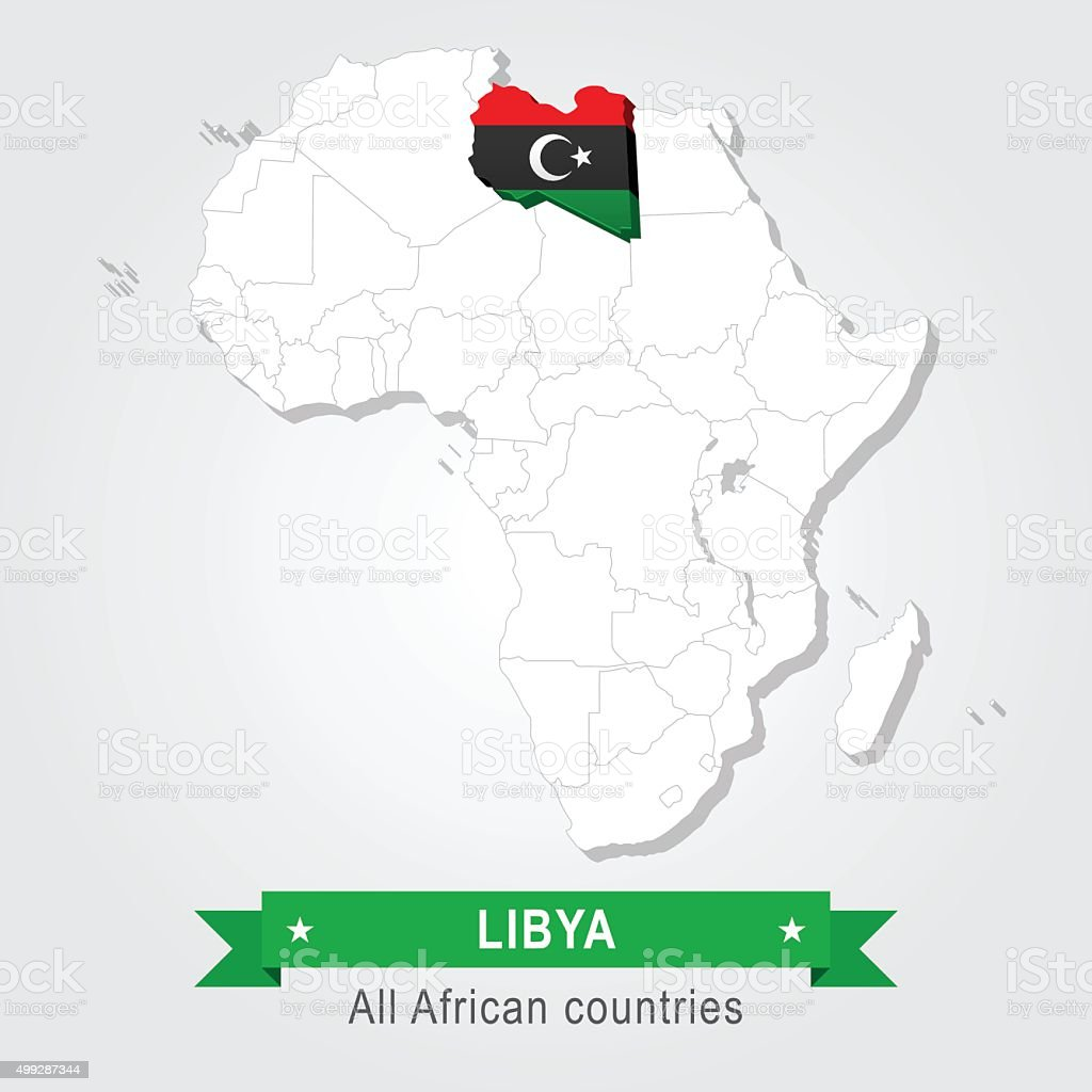 Libya. All the countries of Africa. Flag version. vector art illustration