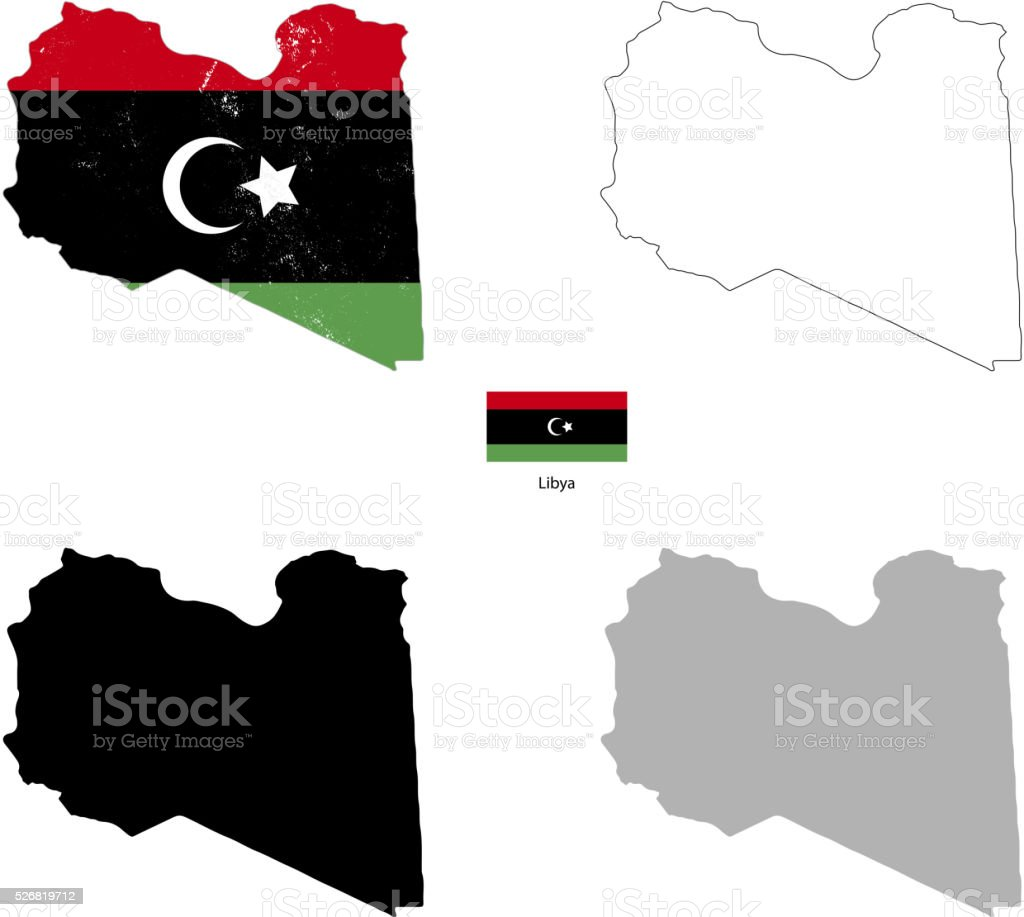 Libya country black silhouette and with flag on background vector art illustration