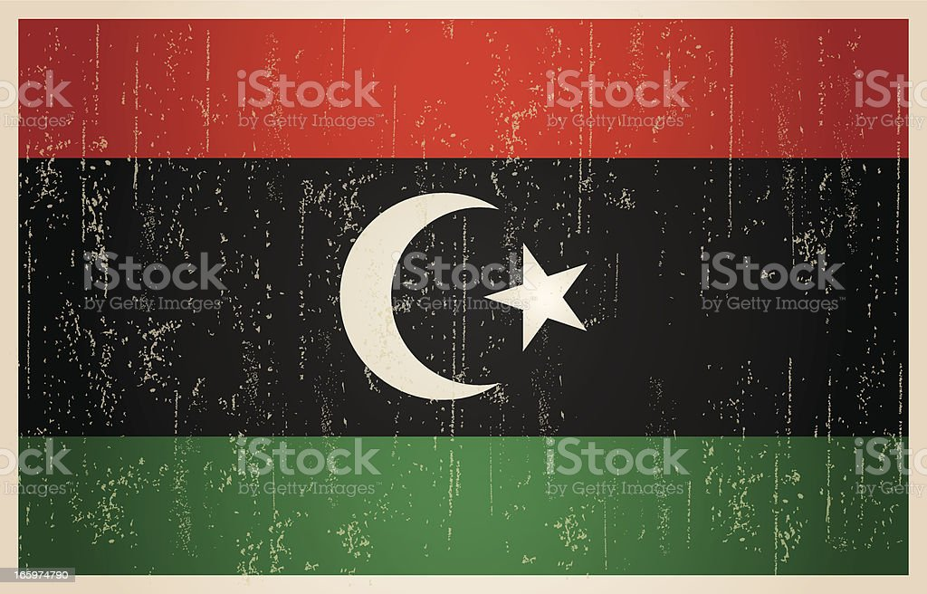 Libyan flag in grunge and vintage style. royalty-free stock vector art