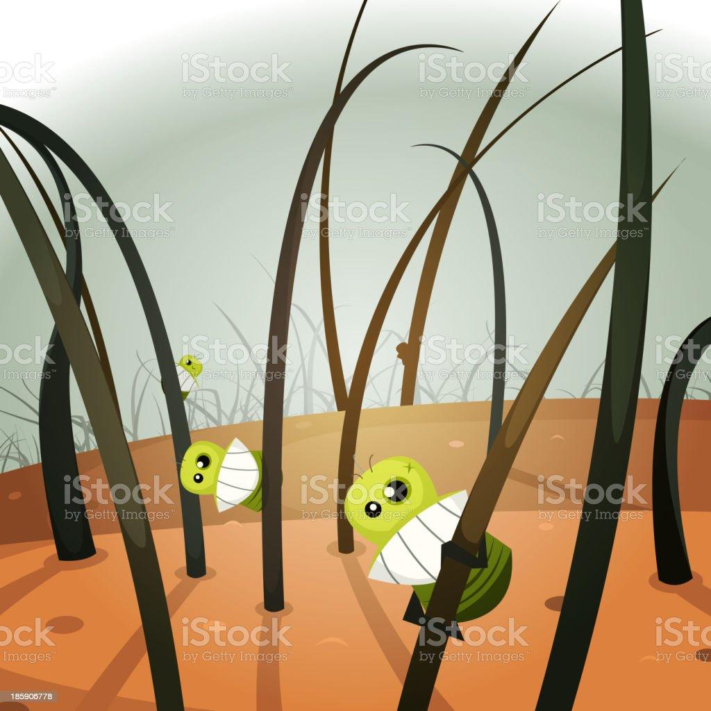 Lice Invasion Inside Hairy Landscape vector art illustration