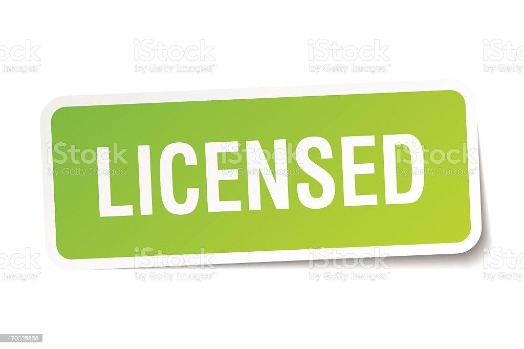 licensed green square sticker on white background vector art illustration