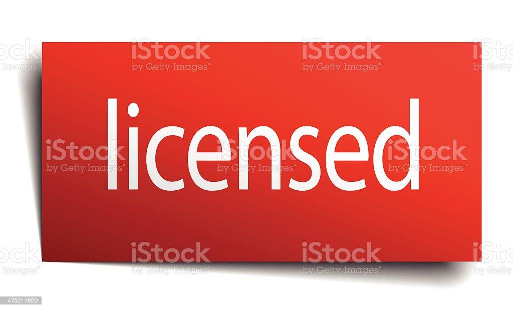 licensed red paper sign on white background vector art illustration
