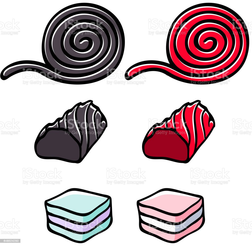 Licorice and marshmallow candies set vector illustration vector art illustration