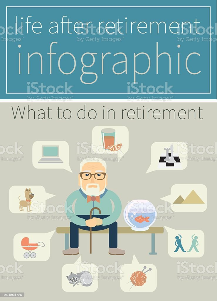 life after retirement vector art illustration