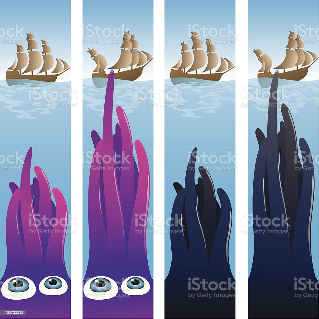 Life Aquatic - Kraken Attacks royalty-free stock vector art