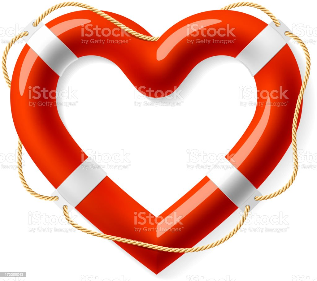 Life buoy in the shape of heart vector art illustration
