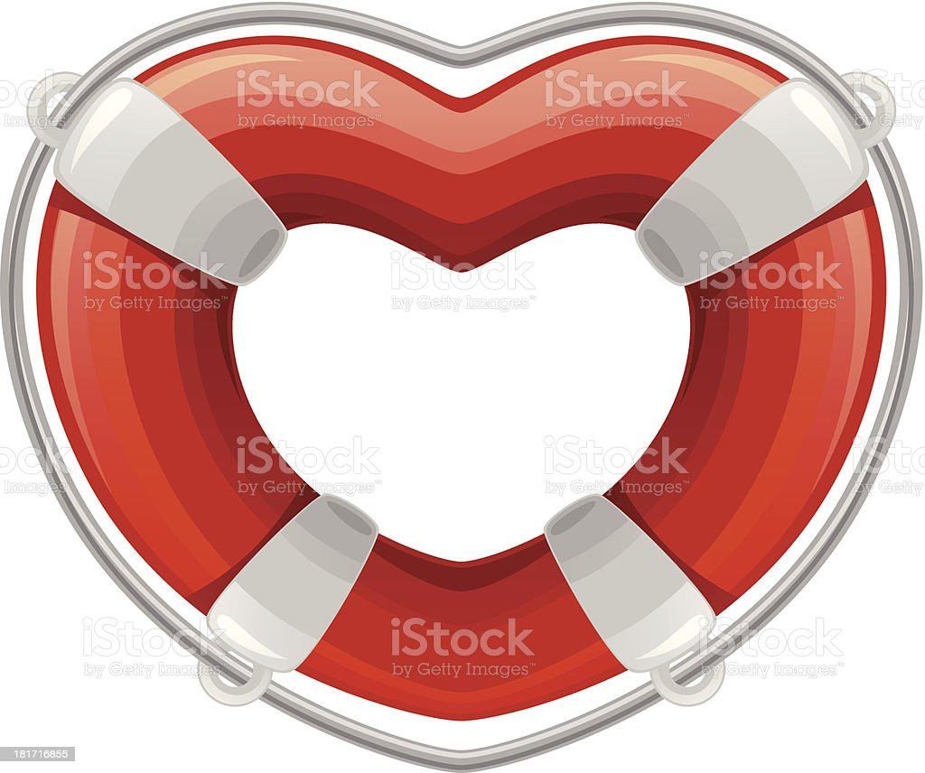 Life buoy in the shape of heart royalty-free stock vector art