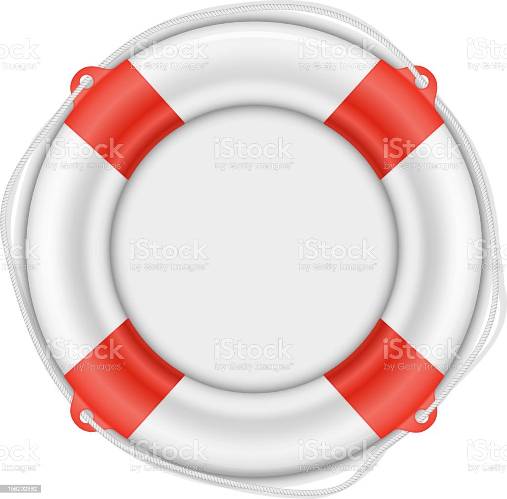 Life Buoy isolated on white vector art illustration