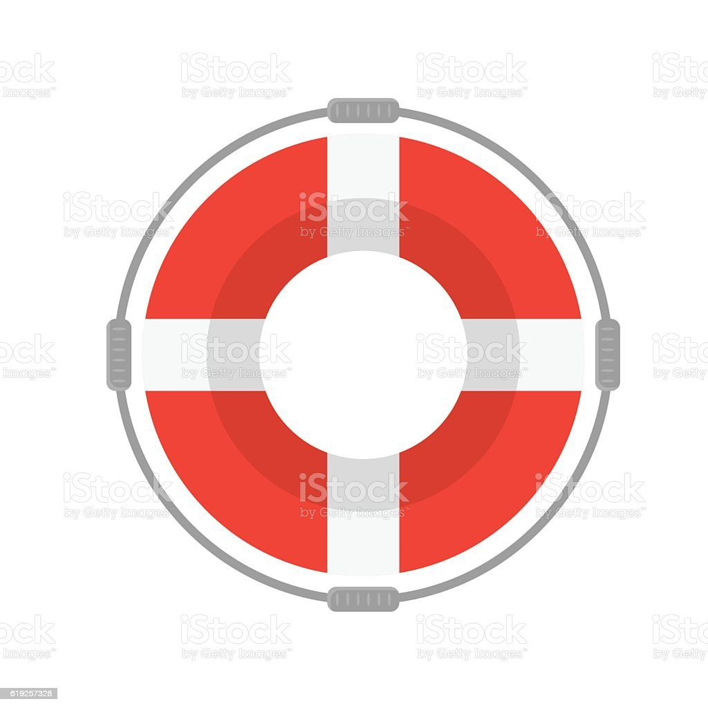 Life Buoy with Rope. Vector vector art illustration