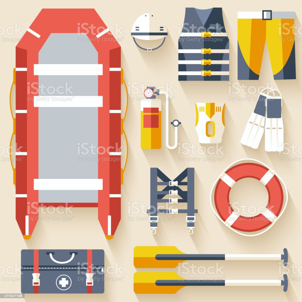Life guard and first aid kit flag icons vector art illustration
