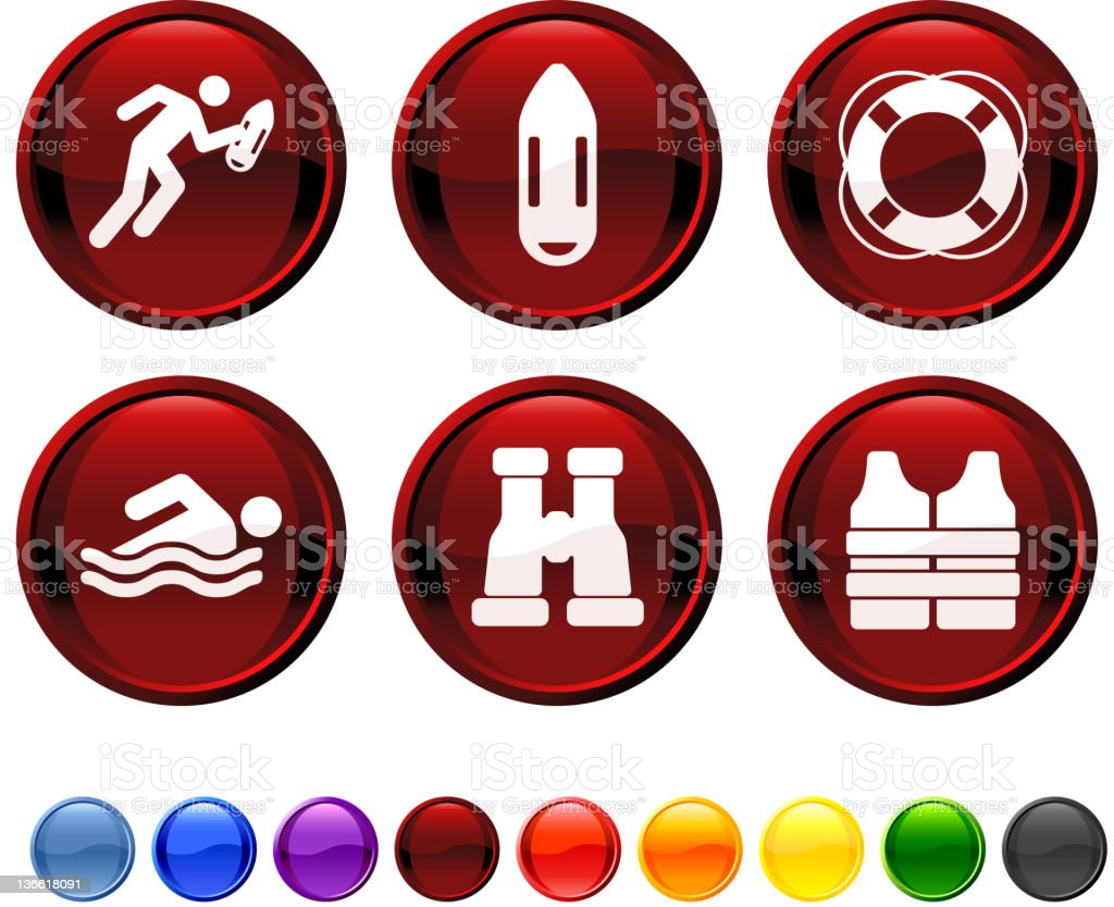 life guard on duty royalty free vector icon set royalty-free stock vector art