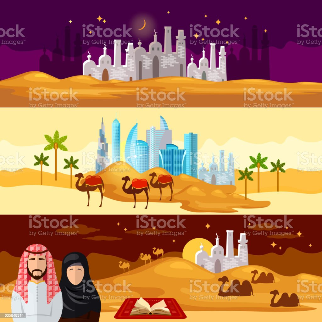 Life in the Arab countries banners vector art illustration