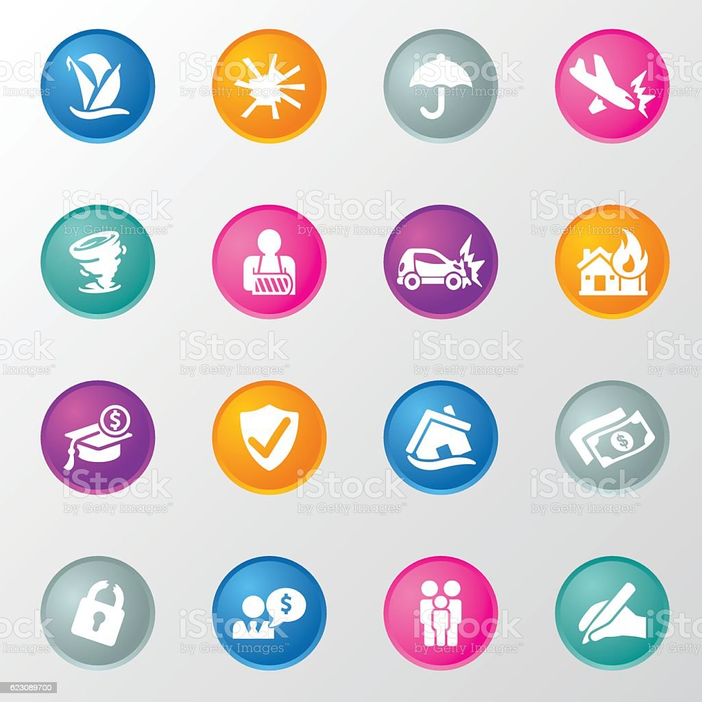 Life Insurance Circle Color Icons vector art illustration
