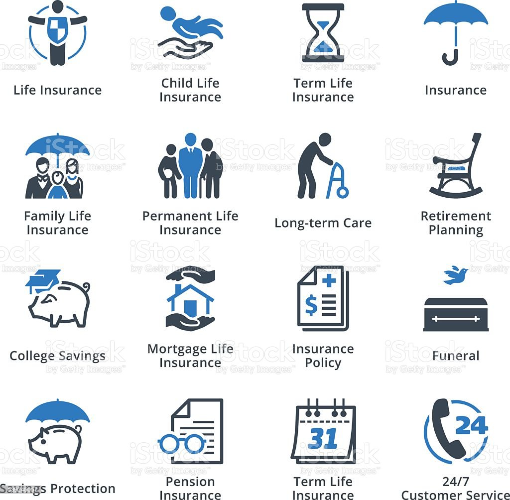 Life Insurance Icons - Blue Series vector art illustration