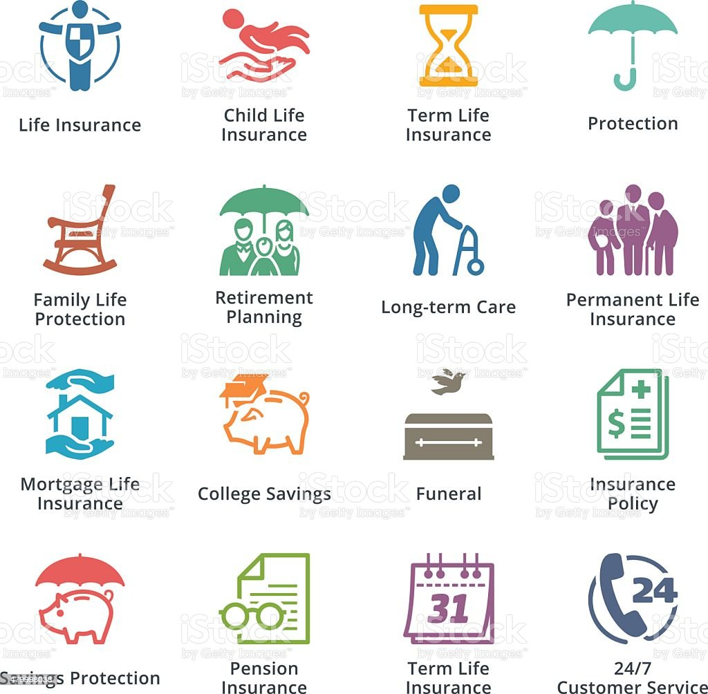 Life Insurance Icons - Colored Series vector art illustration