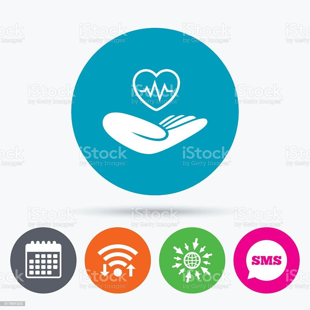 Life insurance sign. Hand holds heart. vector art illustration