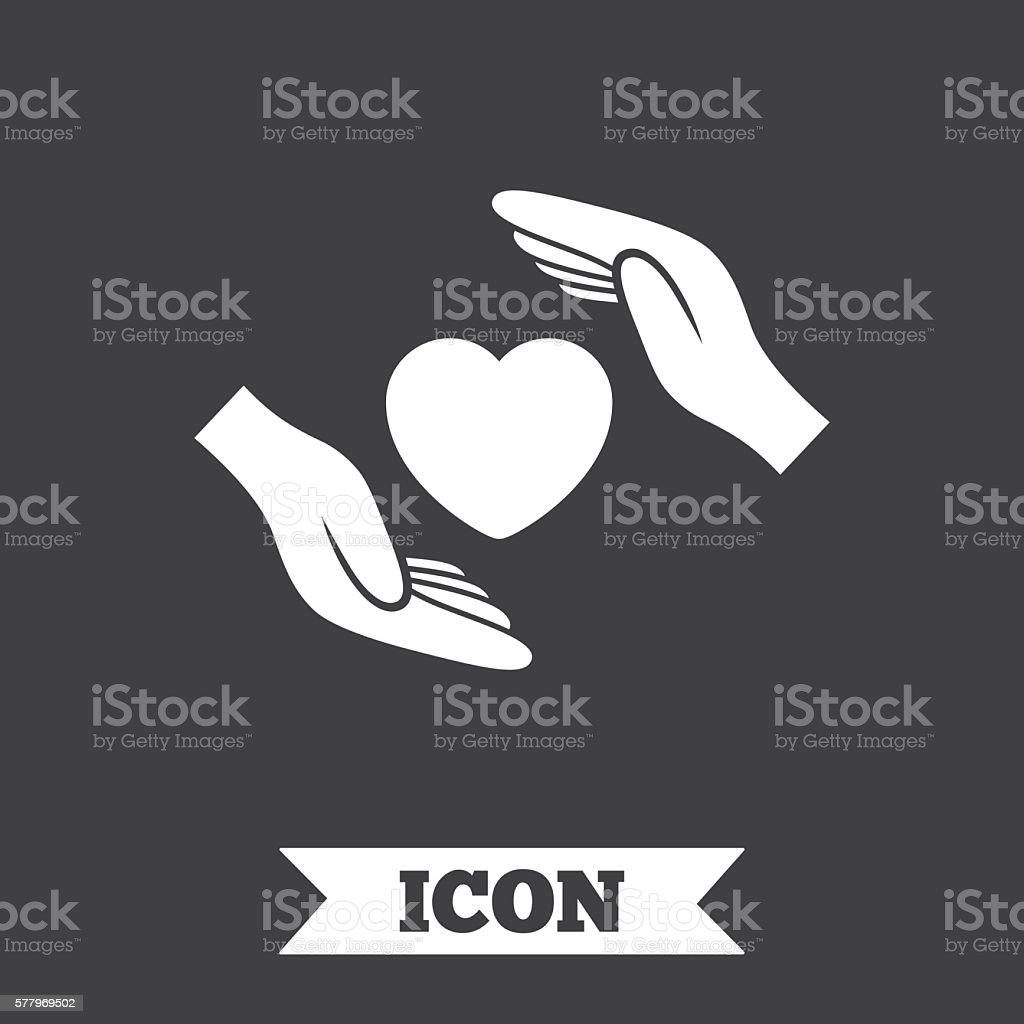 Life insurance sign icon. Hands protect cover. vector art illustration