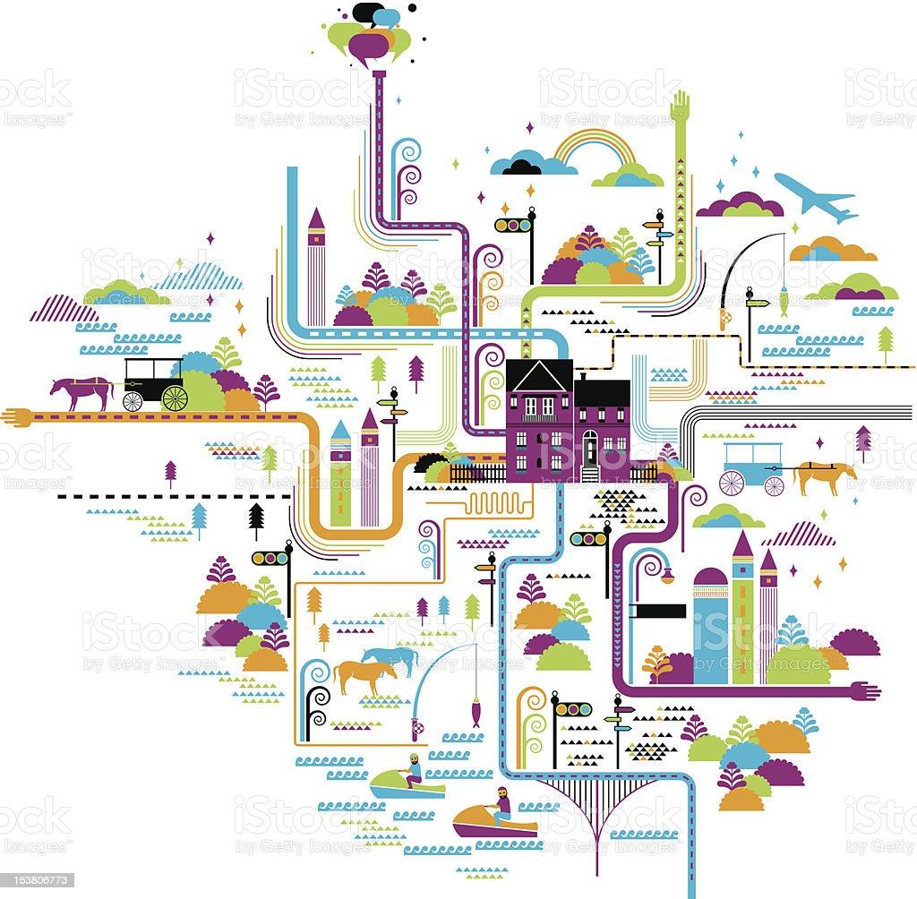 life map vector art illustration