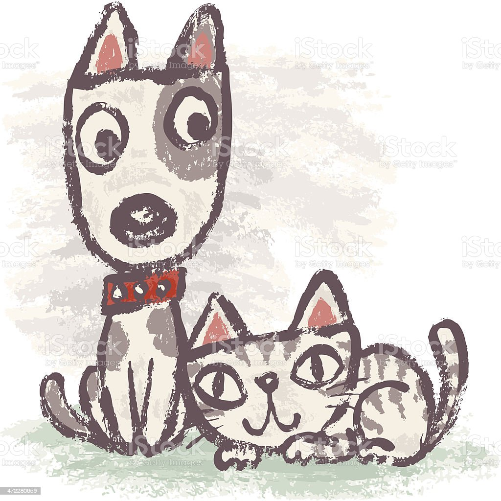 Life of dog and cat vector art illustration