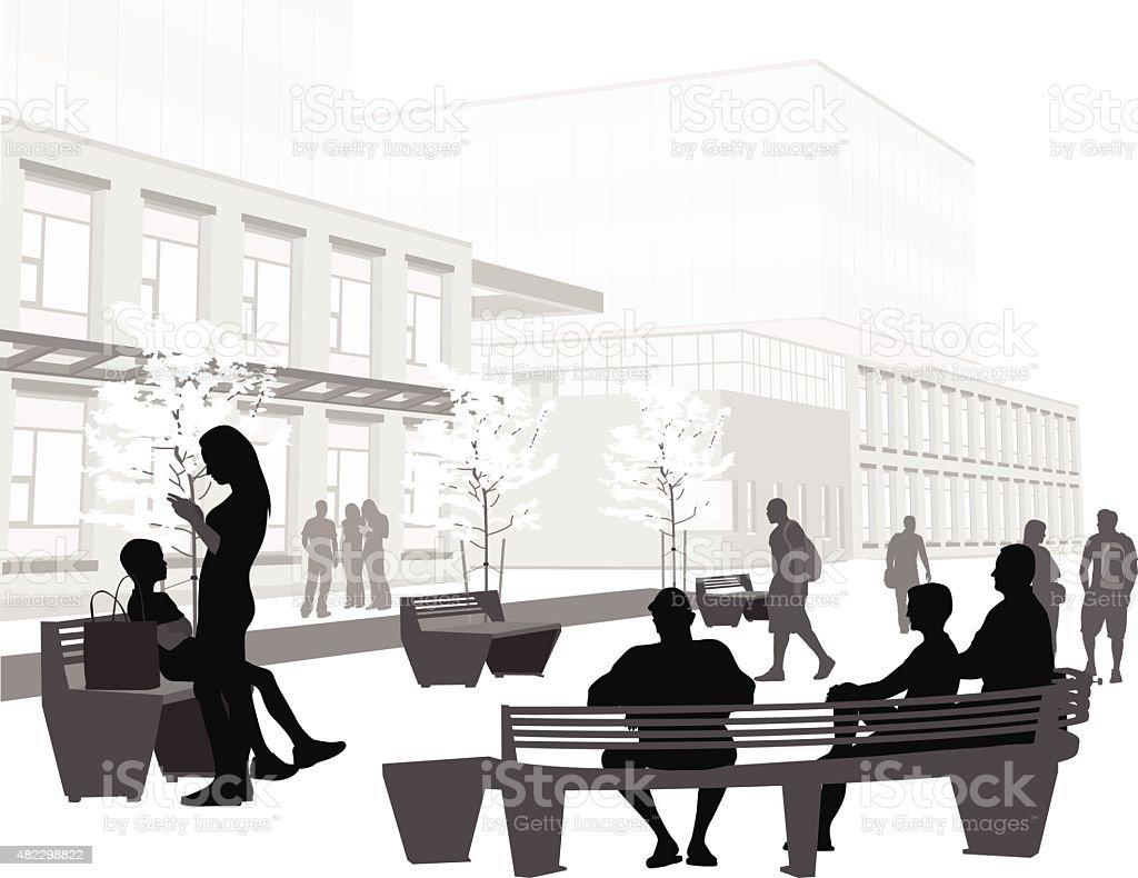 Life On Campus vector art illustration
