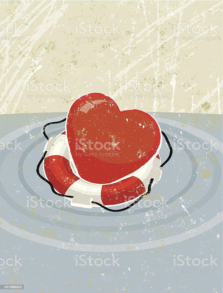 Life Ring Saving a Heart vector art illustration