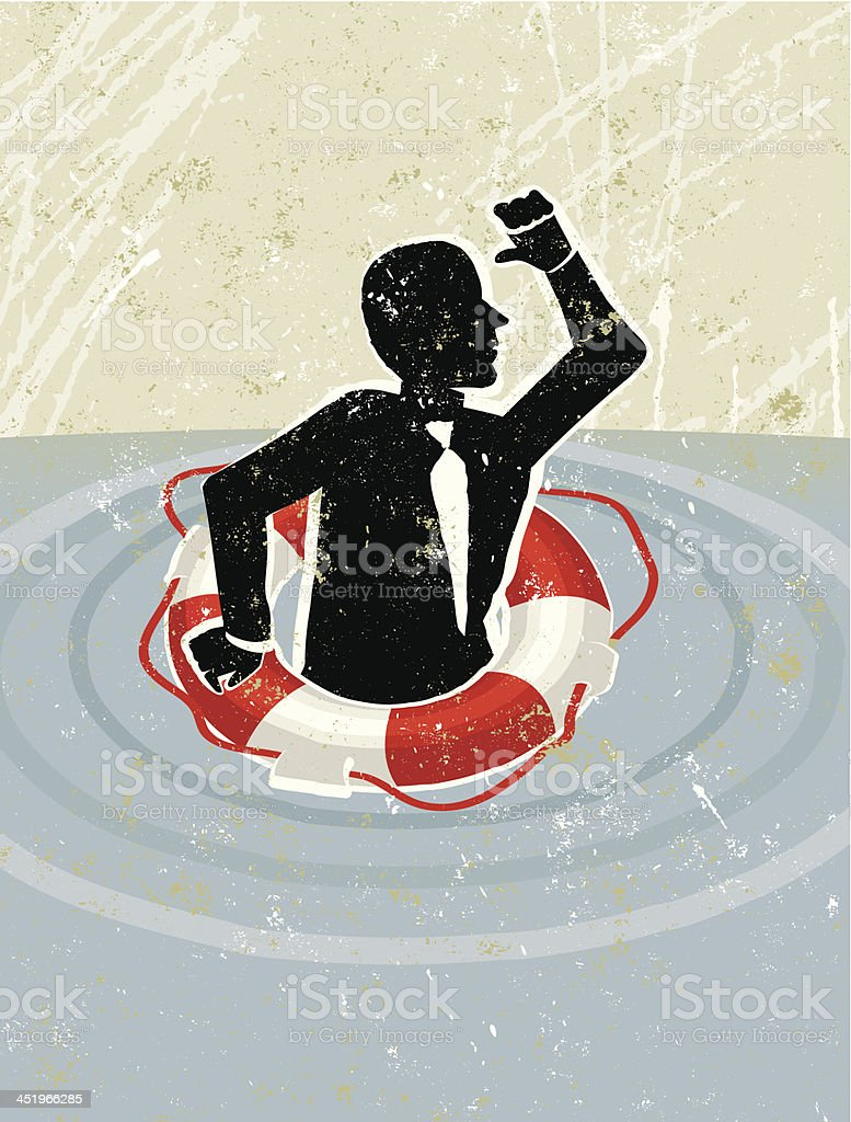 Life Ring Saving Business Man royalty-free stock vector art