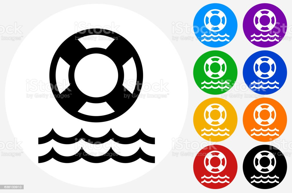 Life Saver Icon on Flat Color Circle Buttons vector art illustration