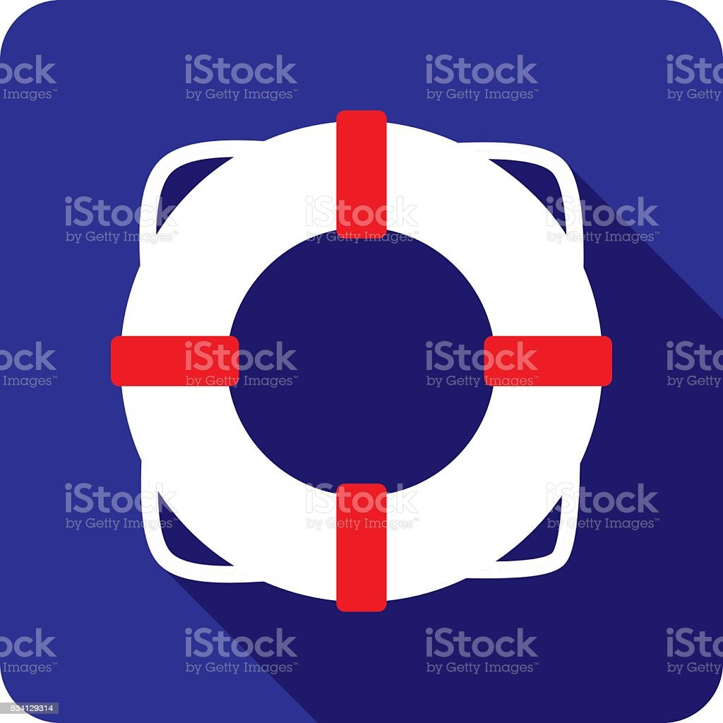 Life Saver Ring Icon Silhouette vector art illustration