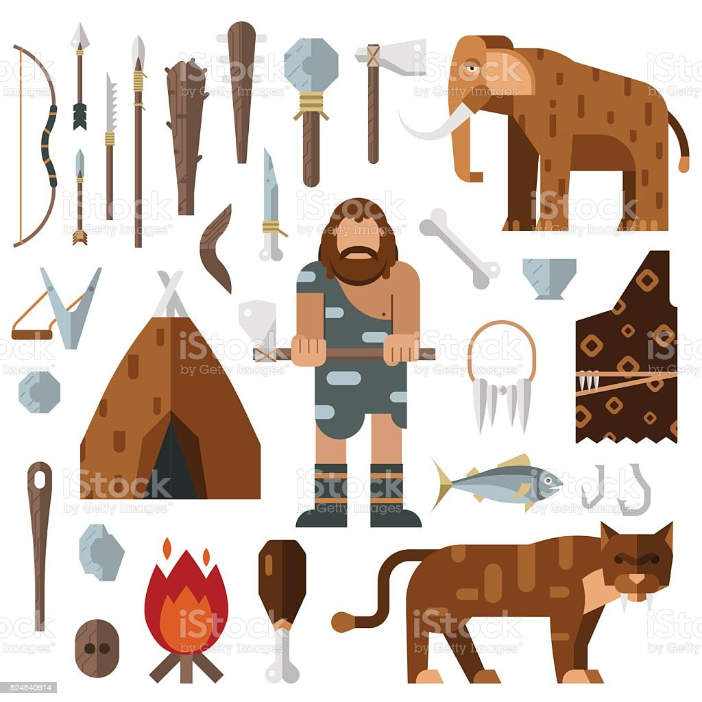 Life stone age caveman cave bonfire mammoth bone vector vector art illustration
