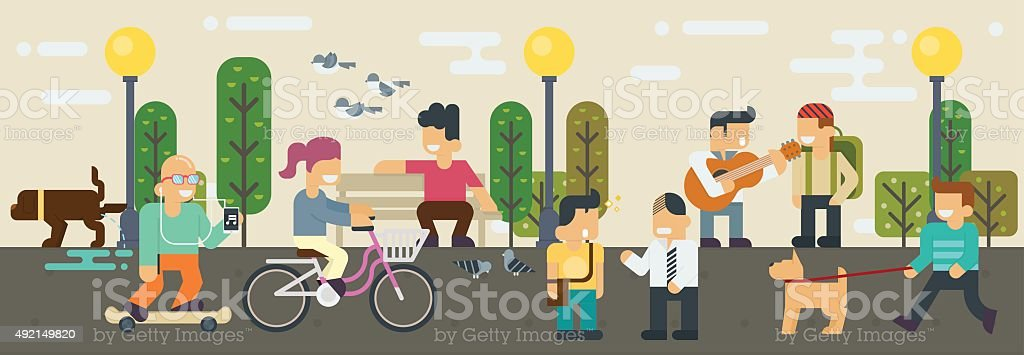 Life style Free time  Elements Vector flat illustration vector art illustration