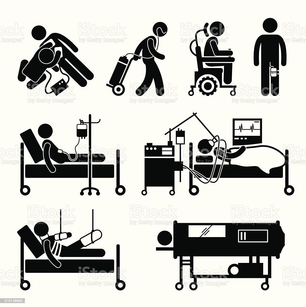 Life Support Equipments Stick Figure Pictogram Icons vector art illustration