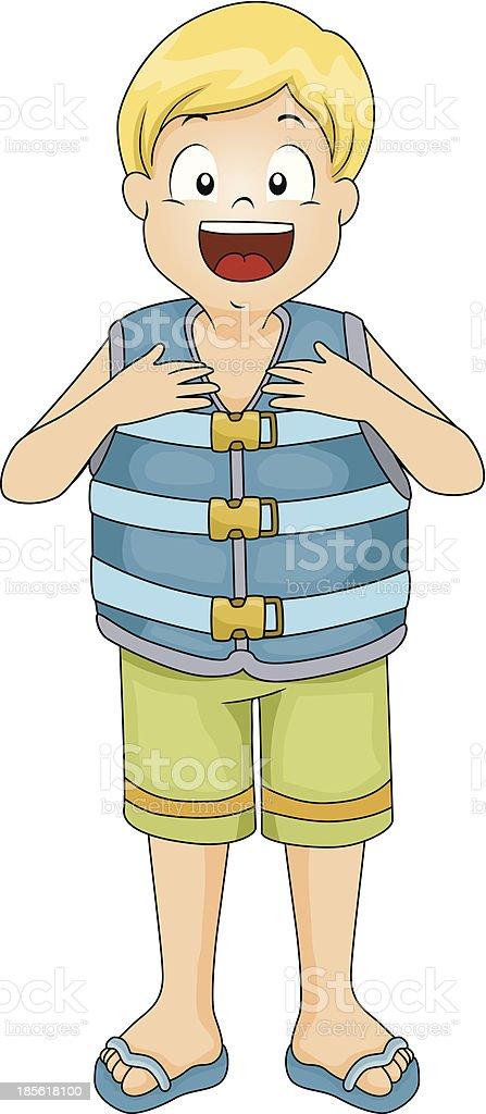 Life Vest Boy royalty-free stock vector art