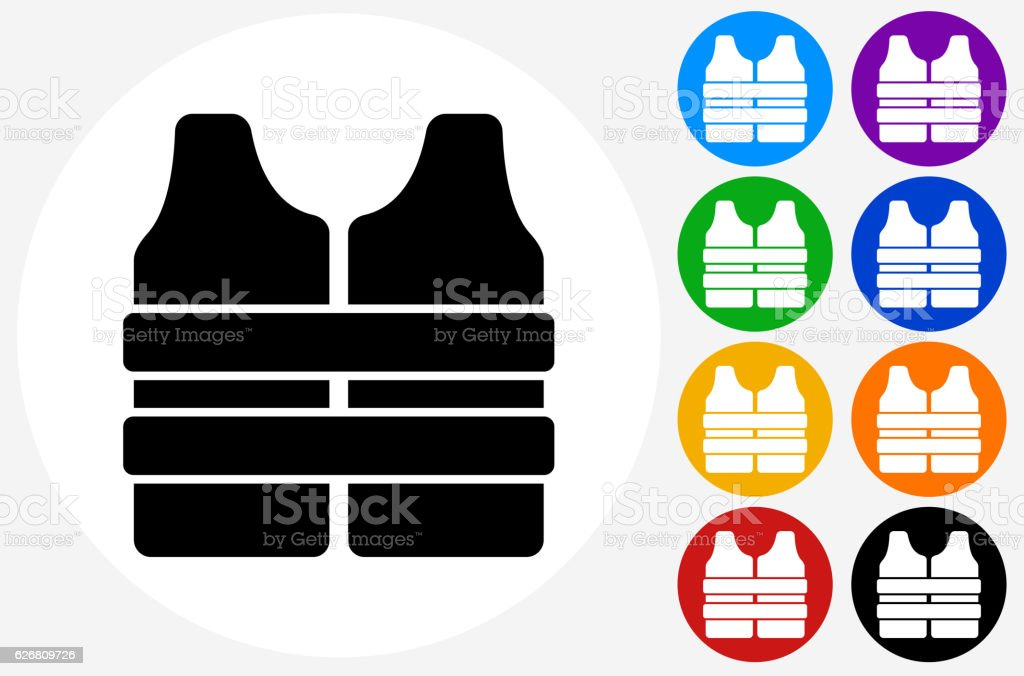 Life Vest Icon on Flat Color Circle Buttons vector art illustration