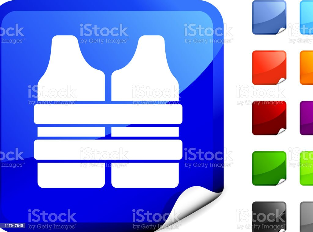 life vest on sticker royalty-free stock vector art