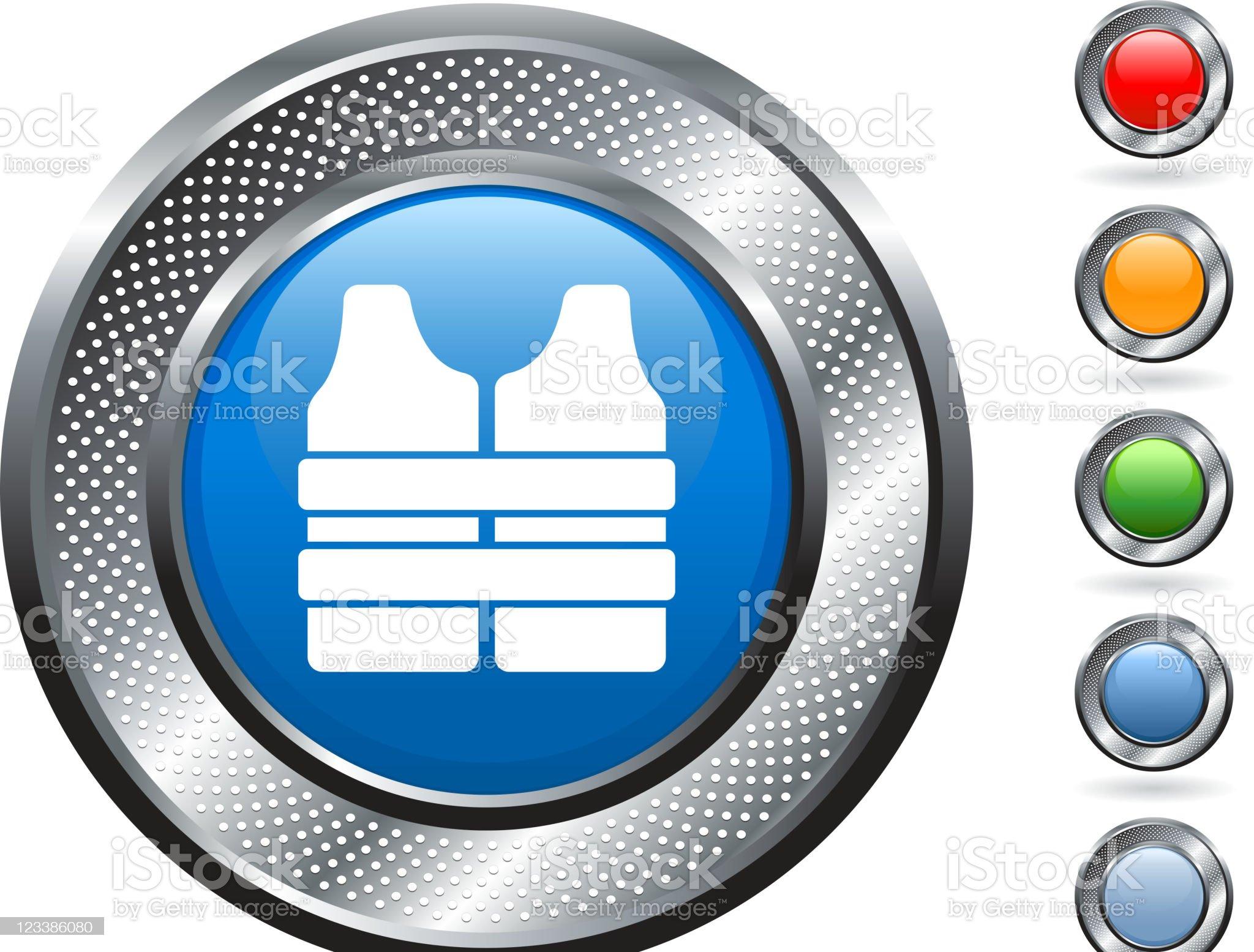 life vest royalty free vector art on metallic button royalty-free stock vector art