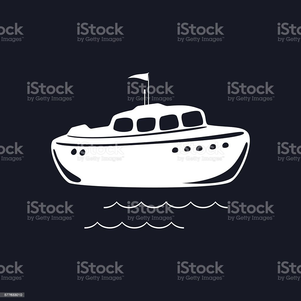 Lifeboat Isolated on Black Background vector art illustration