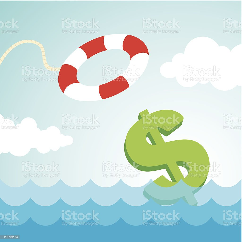 lifebuoy and a dollar sign royalty-free stock vector art