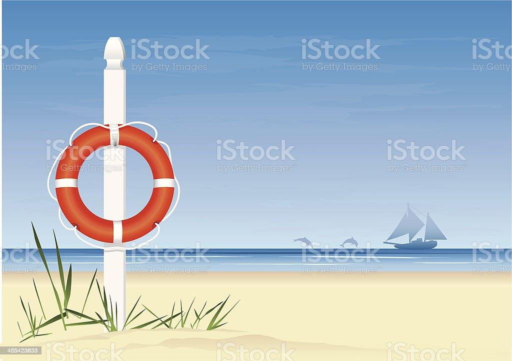 Lifebuoy and Beach Scene royalty-free stock vector art